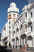Edificio La Equitativa or Equitable building in the Ensanche or Spanish Expansion area of Tetouan, built in the early 20th century during the time of the Spanish Protectorate of Morocco 1912-56. After the Reconquest of Spain, Tetouan was rebuilt by Andalusian refugees who had been expelled by the Spanish, and the town continued to have a strong Moorish influence in its art and architecture. Picture by Manuel Cohen