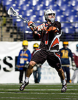 Jack McBride (14) of Princeton takes a shot against Johns Hopkins during the Face-Off Classic in at M&T Stadium in Baltimore, MD