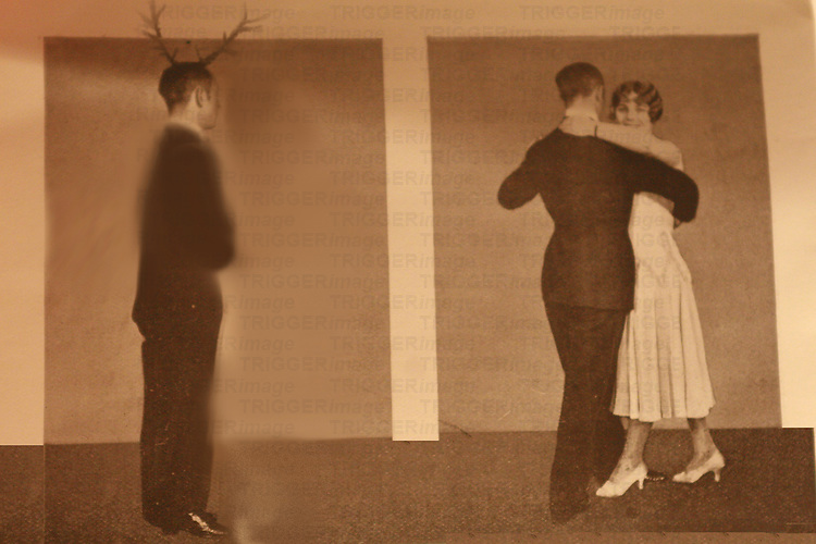 A couple dancing and a man with anlers watching