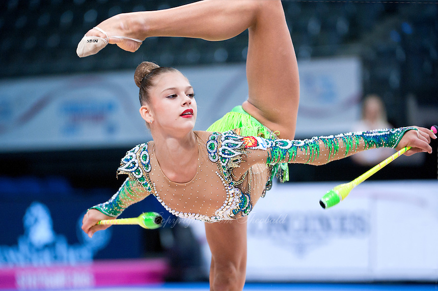 September 10, 2015 - Stuttgart, Germany - ALEKSANDRA SOLDATOVA of Russia performs during AA qualifications at 2015 World Championships.