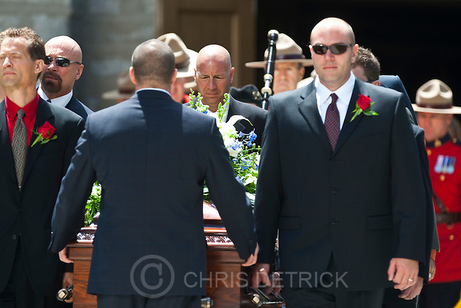 """Chris Detrick    The Salt Lake Tribune.The pall bearers bring out the casket during the funeral service for Arnold Friberg at the Assembly Hall on Temple Square Saturday, July 10, 2010. Most renowned for his vivid depictions of scenes from The Book of Mormon and for his 1975 painting """"Prayer at Valley Forge,"""" which showed President George Washington on one knee in a winter's forest beside his horse, Friberg died  at age 96. He died after hip surgery following a June 21 fall outside his Holladay home."""