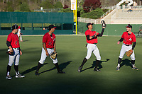 (L-R) Tyler Sullivan (2), Seby Zavala (21), Joel Booker (23), and Max Dutto (6) play a game of pepper prior to the South Atlantic League game against the Lakewood BlueClaws at Kannapolis Intimidators Stadium on April 8, 2017 in Kannapolis, North Carolina.  The BlueClaws defeated the Intimidators 8-4 in 10 innings.  (Brian Westerholt/Four Seam Images)