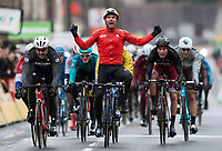 Picture by Alex Broadway/SWpix.com - 05/03/17 - Cycling - 2017 Paris Nice - Stage Two - Rochefort-en-Yvelines to Amilly - Sonny Cobrelli of Bahrain-Merida celebrates winning the stage.
