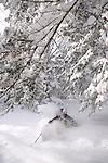 Skier enjoying very deep powder snow, Killington, Vermont