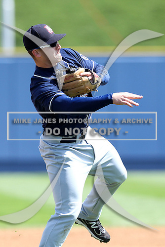 New Hampshire Fisher Cats third baseman Mark Sobolewski #4 during a game against the Reading Phillies at FirstEnergy Stadium on May 5, 2011 in Reading, Pennsylvania.  New Hampshire defeated Reading by the score of 10-5.  Photo By Mike Janes/Four Seam Images