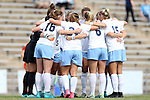 25 October 2015: UNC's starters huddle before the game. The University of North Carolina Tar Heels hosted the Clemson University Tigers at Fetzer Field in Chapel Hill, NC in a 2015 NCAA Division I Women's Soccer game. UNC won the game 1-0.
