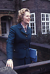 Mrs Maggie Margaret outside her home in Flood Street, Chelsea London. 1979