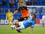 St Johnstone v Dundee United...09.05.15   SPFL<br /> Chris Millar ia caught by Callum Morris<br /> Picture by Graeme Hart.<br /> Copyright Perthshire Picture Agency<br /> Tel: 01738 623350  Mobile: 07990 594431