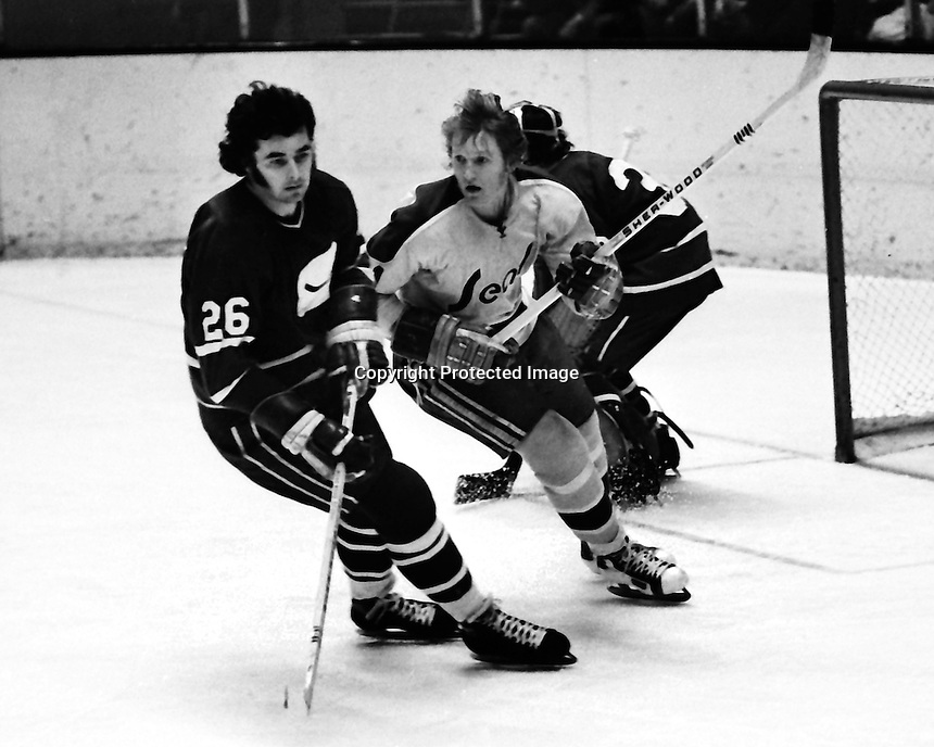 Seals Stan Weir with Vancouver's Brvan McSheffrev<br />