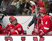 Beau Starrett (Cornell - 10), Mike Schafer (Cornell - Head Coach), Alex Rauter (Cornell - 4) - The Harvard University Crimson defeated the visiting Cornell University Big Red on Saturday, November 5, 2016, at the Bright-Landry Hockey Center in Boston, Massachusetts.