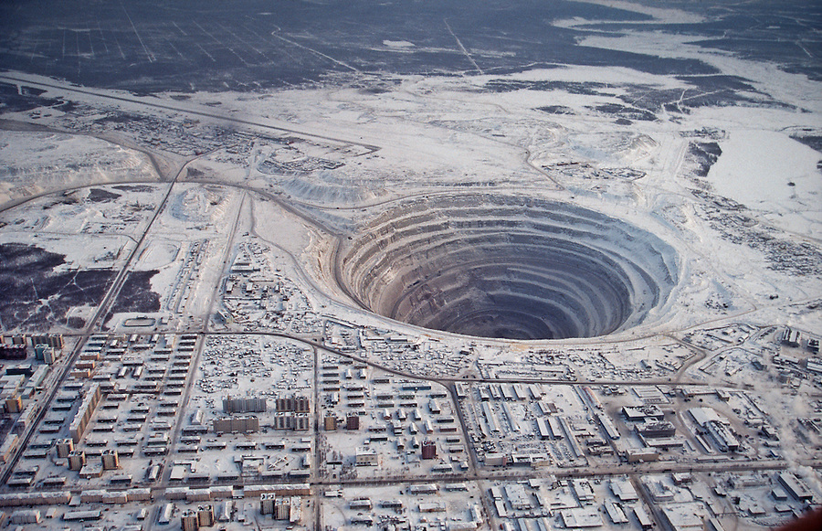 Mirny, Yakutia, Russia, March 1996..The source of the Russian diamond industry is the giant mines centred on Mirny, in eastern Siberia.