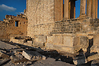 Low angle view of the Temple of Massinissa, 2nd century, near the Capitol in Dougga, Tunisia, pictured on January 31, 2008, in the afternoon. Dougga has been occupied since the 2nd Millennium BC, well before the Phoenicians arrived in Tunisia. It was ruled by Carthage from the 4th century BC, then by Numidians, who called it Thugga and finally taken over by the Romans in the 2nd century. Situated in the north of Tunisia, the site became a UNESCO World Heritage Site in 1997. The temple war erected by the Numidians for one of their kings. Picture by Manuel Cohen.