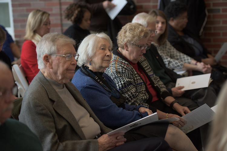 Kathleen Evans, Center, attends the ribbon cutting ceremony for the Gladys W. and David H. Patton College of Education's newly renovated McCracken Hall with her husband, Max, left, on January 27, 2017.