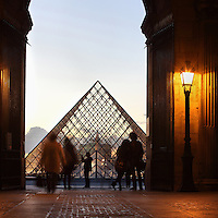 Glass pyramid by I. M. Pei, rising from the centre of the Cour Napoleon and seen from Pavillon Sully, Louvre Museum, Paris, France. Inaugurated March 30, 1989. Picture by Manuel Cohen .