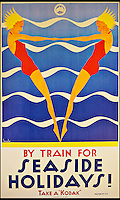 BNPS.co.uk (01202 558833)<br /> Pic: ThamesHudson/BNPS<br /> <br /> ***Please use full byline***<br /> <br /> Gert Sellheim, 1936. A poster designed to advertise holidays to the Australian coast by Victorian Railways (with a reminder to 'take a Kodak').<br /> <br /> The golden age of poster art has been captured in a sumptuous new book of Art Deco design from the 1920's and 30's.<br /> <br /> And ironically the stunning but throwaway designs now sell for tens of thousands of pounds as modern collectors appreciate the unique design's from a halcyon age.<br /> <br /> Author Willian Crouse has illustrated his book with over 300 posters from his own vast collection of art accumulated over the last 30 years.