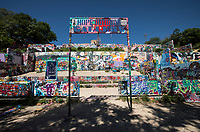 The Hope Outdoor Gallery in Austin, Texas was once an abandoned construction site. It now serves as an outdoor gallery for local graffiti artists to showcase their talents. The gallery is a popular landmark with the Austin community.