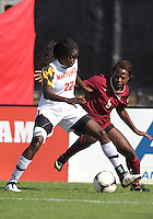 COLLEGE PARK, MD - OCTOBER 21, 2012:  Shade Pratt (22) of the University of Maryland battles for the ball with Jessica Price (6) of Florida State during an ACC women's match at Ludwig Field in College Park, MD. on October 21. Florida won 1-0.