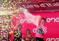 ITALIA. 09-05-2017. Bob Jungels -LUX- (Quick-Step Floors) celebra como nuevo l&iacute;der general del Giro de Italia 2017 despu&eacute;s de la etapa 4 entre Cefalu' a Etna con 181 kms de la versi&oacute;n 100 del Giro de Italia hoy 09 de mayo de 2017. / Bob Jungels -LUX- (Quick-Step Floors) celebrates as overal leader of the Giro D'Italia 2017 after stage 4 between Cefalu' to Etna with 181 kms of the 100 version of the Giro d'Italia today 09 May 2017 Photo: VizzorImage/  Massimo Paolone / LaPresse<br /> VizzorImage PROVIDES THE ACCESS TO THIS PHOTOGRAPH ONLY AS A PRESS AND EDITORIAL SERVICE AND NOT IS THE OWNER OF COPYRIGHT; ANOTHER USE HAVE ADDITIONAL PERMITS AND IS  REPONSABILITY OF THE END USER