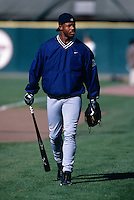 SAN FRANCISCO, CA - Ken Griffey Jr. of the Seattle Mariners walks onto the field before a game against the San Francisco Giants at Candlestick Park in San Francisco, CA in 1997. Photo by Brad Mangin