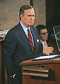 United States President George H.W. Bush delivers his State of the Union Address to a Joint Session of the 102nd U.S. Congress in the U.S. Capitol in Washington, D.C. on January 29, 1991.<br /> Credit: Ron Sachs / CNP