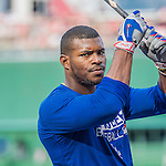 7 October 2016: Los Angeles Dodgers outfielder Yasiel Puig awaits his turn in the batting cage prior to the first game of the NLDS against the Washington Nationals at Nationals Park in Washington, DC. The Dodgers edged out the Nationals 4-3 to take the opening game of their best-of-five series. Mandatory Credit: Ed Wolfstein Photo *** RAW (NEF) Image File Available ***