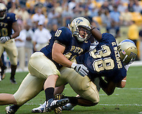 September 06, 2008: Pitt linebackers Scott McKillop and Greg Williams (#38) make a tackle. The Pitt Panthers defeated the Buffalo Bulls 27-16 on September 06, 2008 at Heinz Field, Pittsburgh, Pennsylvania.