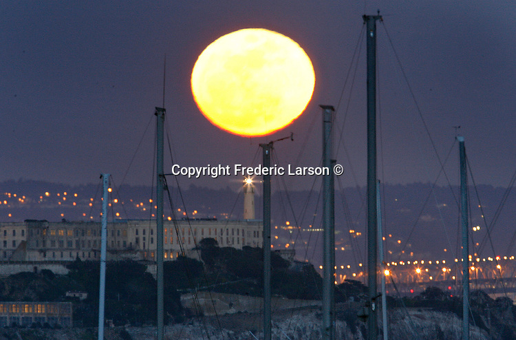 The first full moon of spring that rose directly over Alcatraz Island as seen from Fort Baker in Sausalito.