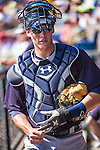11 March 2014: New York Yankees catcher Pete O'Brien in the dugout during a Spring Training game against the Washington Nationals at Space Coast Stadium in Viera, Florida. The Nationals defeated the Yankees 3-2 in Grapefruit League play. Mandatory Credit: Ed Wolfstein Photo *** RAW (NEF) Image File Available ***