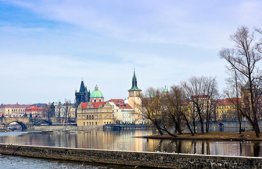 City of Prague and Vltava River in the Czech Republic