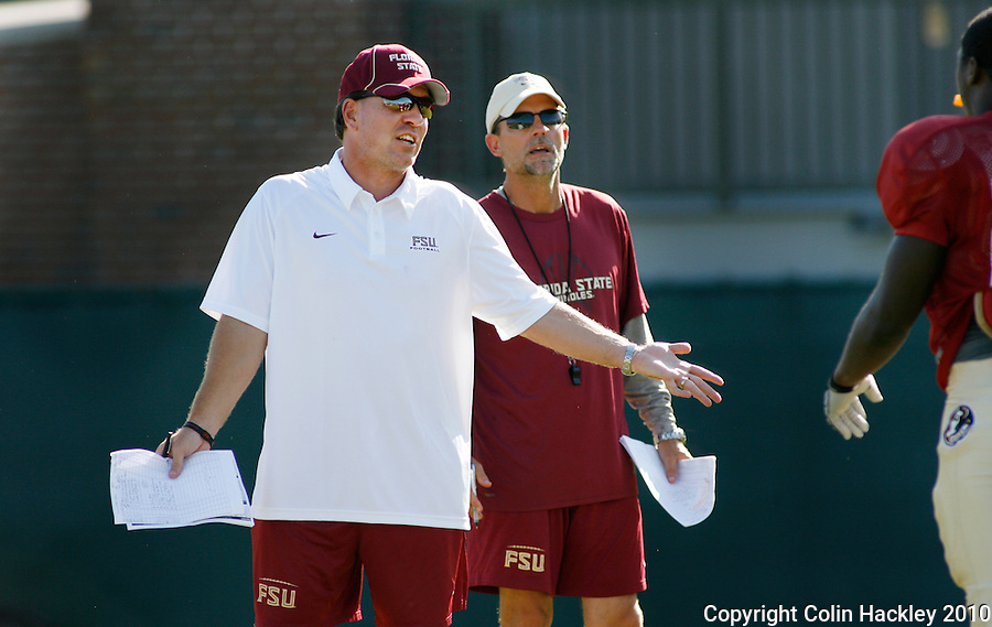 TALLAHASSEE, FL, 8/18/10-FSU-081810 CH-Florida State Head Coach Jimbo Fisher, left, and Running Backs and Special Teams Coach Eddie Gran direct players during practice Wednesday in Tallahassee. .COLIN HACKLEY PHOTO