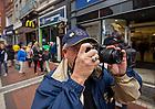 Aug. 31, 2012; A Notre Dame fan takes photos on Grafton Street in Dublin...Photo by Matt Cashore/University of Notre Dame