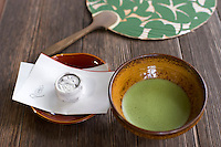 Matcha tea and a sweet in the summer at a Kyoto temple.