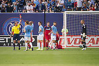 BRONX, NY - Friday April 15, 2015: RJ Allen is sent off in the 26th minute.  Expansion team New York City FC ties the Chicago Fire 2-2 at home at Yankee Stadium during the MLS regular season.