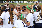 25 April 2016: Notre Dame players huddle before the game. The University of North Carolina Tar Heels hosted the University of Notre Dame Fighting Irish at Anderson Stadium in Chapel Hill, North Carolina in a 2016 NCAA Division I softball game. UNC won the game 7-6.