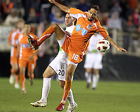 Marques Davidson #18 Of the Carolina Railhawks gets the ball away from Joshua Hansen #20 of the Puerto Rico Islanders during the second leg of the USSF-D2 championship match at WakeMed Soccer Park, in Cary, North Carolina on October 30 2010.