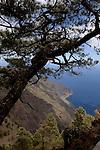 View of playa de la Almorranas, and Roque de la Bonanza from mountain ridge. El Hierro, Canary islands, Spain