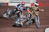 Heat 11: F Lindgren (tactical) and Shields - Lakeside Hammers vs Wolverhampton Wolves - Sky Sports Elite League Speedway at Arena Essex Raceway, Purfleet - 24/05/10 - MANDATORY CREDIT: Gavin Ellis/TGSPHOTO - Self billing applies where appropriate - Tel: 0845 094 6026