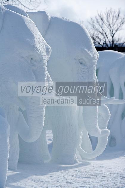 Amérique/Amérique du Nord/Canada/Québec/ Québec:  Lors du Carnaval de Québec, les Plaines d'Abraham sont transformées en terrain de jeu familial- Concours de sculpture sur glace