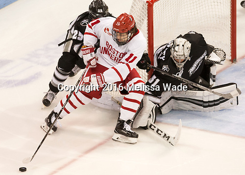 Robbie Hennessey (PC - 25), Patrick Curry (BU - 11), Hayden Hawkey (PC - 31) - The Boston University Terriers tied the visiting Providence College Friars 2-2 on Saturday, December 3, 2016, at Agganis Arena in Boston, Massachusetts.