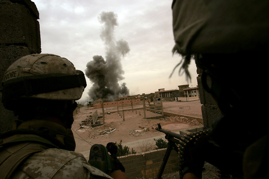 An air-strike lifts smoke and debris high into the air during the third day of Operation Steel Curtain, an operation to clear Husaybah (a city on the Iraq-Syrian border) of insurgents on Mon. Nov. 7, 2005.