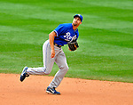 14 September 2008: Kansas City Royals' infielder Jason Smith in action against the Cleveland Indians at Progressive Field in Cleveland, Ohio. The Royal defeated the Indians 13-3 to take the 4-game series three games to one...Mandatory Photo Credit: Ed Wolfstein Photo