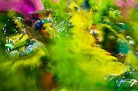 Dancers of Mocidade samba school perform during the Carnival parade at the Sambadrome in Rio de Janeiro, Brazil, 20 February 2012. The Carnival in Rio de Janeiro, considered the biggest carnival in the world, is a colorful, four day celebration, taking place every year forty days before Easter. The Samba school parades, featuring thousands of dancers, imaginative costumes and elaborate floats, are held on the Sambadrome, a purpose-built stadium in downtown Rio. According to costumes, flow, theme, band music quality and performance, a single school is declared the winner of the competition.