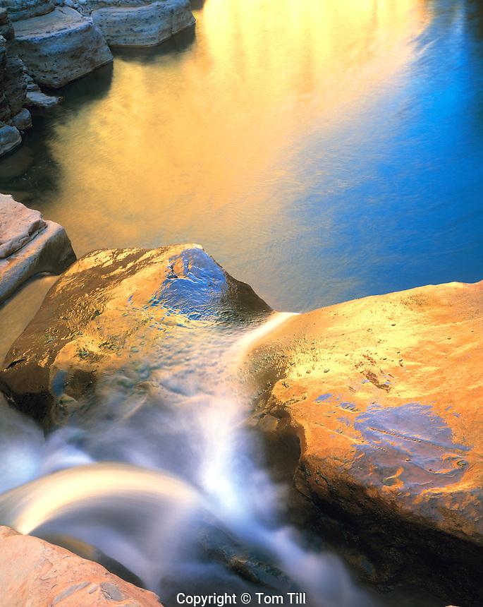 Reflections at Triplet Falls, Dark Canyon, Glen Canyon National Recreation Area, Utah       Lower Cataract Canyon Dark Canyon Trail