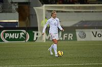 Lorient, France. - Sunday, February 8, 2015:  Whitney Engen (6) of the USWNT. France defeated the USWNT 2-0 during an international friendly at the Stade du Moustoir.