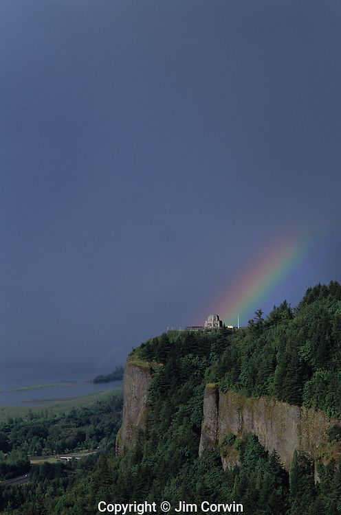 Columbia River Gorge National Scenic Area Crown Point State Scenic Corridor Crown Point with Vista House lookout and observatory sunset with rainbow Oregon State USA