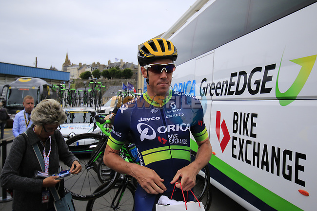 Matthew Hayman (AUS) Orica GreenEdge outside the team bus before the start of Stage 3 of the 2016 Tour de France, running 223.5km from Granville to Angers, France . 4th July 2016.<br /> Picture: Eoin Clarke | Newsfile<br /> <br /> <br /> All photos usage must carry mandatory copyright credit (&copy; Newsfile | Eoin Clarke)