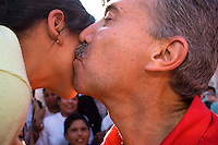 Roberto Madrazo, the nominee of the Institutional Revolutionary Party (PRI) for Presidency, kisses a girl during a campaign event in a Mexico City neighborhood, April 12, 2006. Madrazo has been in third place in the polls since the beginning of the campaign in January 2006. Photo by © Javier Rodriguez