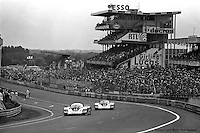 LE MANS, FRANCE: The Porsche 956 002 of Jacky Ickx and Derek Bell leads the Porsche 956 003 of Jochen Mass and Vern Schuppan en route to their 1-2 finish in the 24 Hours of Le Mans on June 20, 1982, at Circuit de la Sarthe in Le Mans, France.