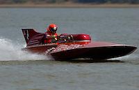 "2003 Madison Regatta, 5-6 July 2003, Madison, IN USA                                .Steve Lindo drives his 1964 280 Sooy hydroplane ""Vagabond"" E-103..F. Peirce Williams .photography.P.O.Box 455  Eaton, OH 45320 USA.p: 317.358.7326  fpwp@mac.com"