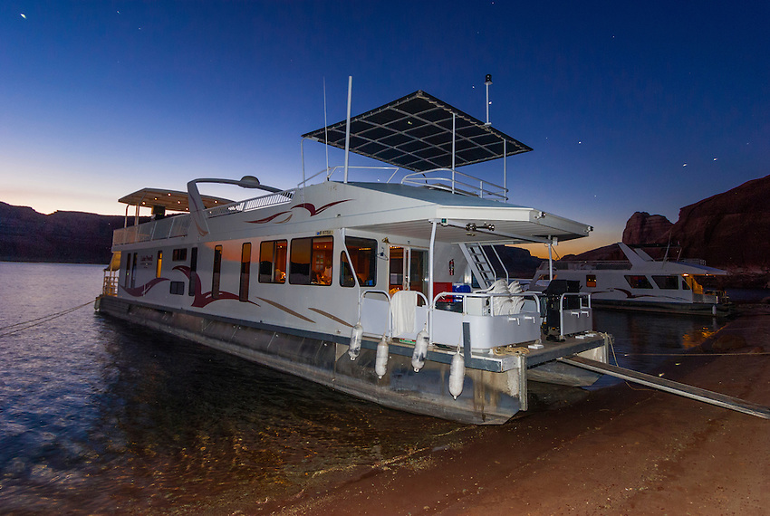 Utah Boat Shelters : A foot luxury class houseboat anchored along lake